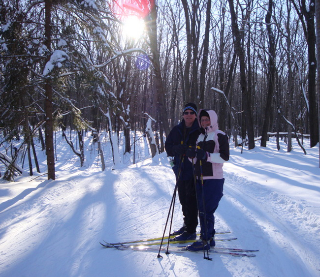 Couple on ski trails