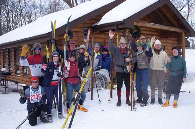 Ski Club Members in Retro Gear